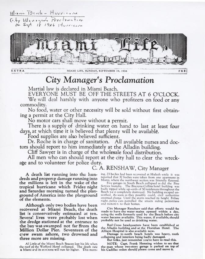 Miami 1926 proclamation