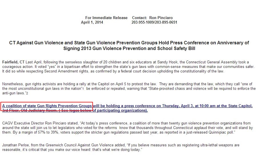 A coalition of state Gun Rights Prevention Groups 2