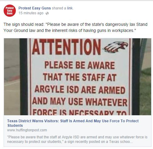 protest easy guns Texas schools armed teachers
