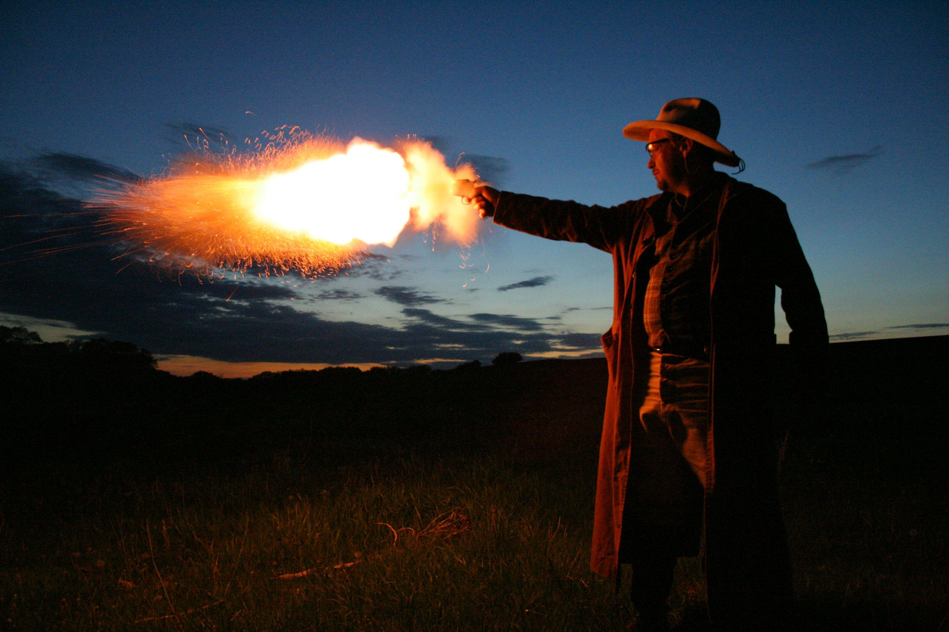 black powder gun night