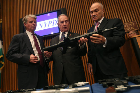 Vance, Bloomberg & Kelly trying to figure out the business end of an Evil Assault Weapon Automatic with Nuclear high capacity magazine clips