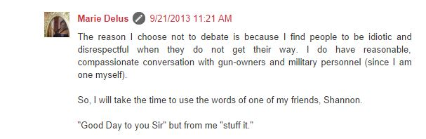 Marie Delus blog will not debate stuff it