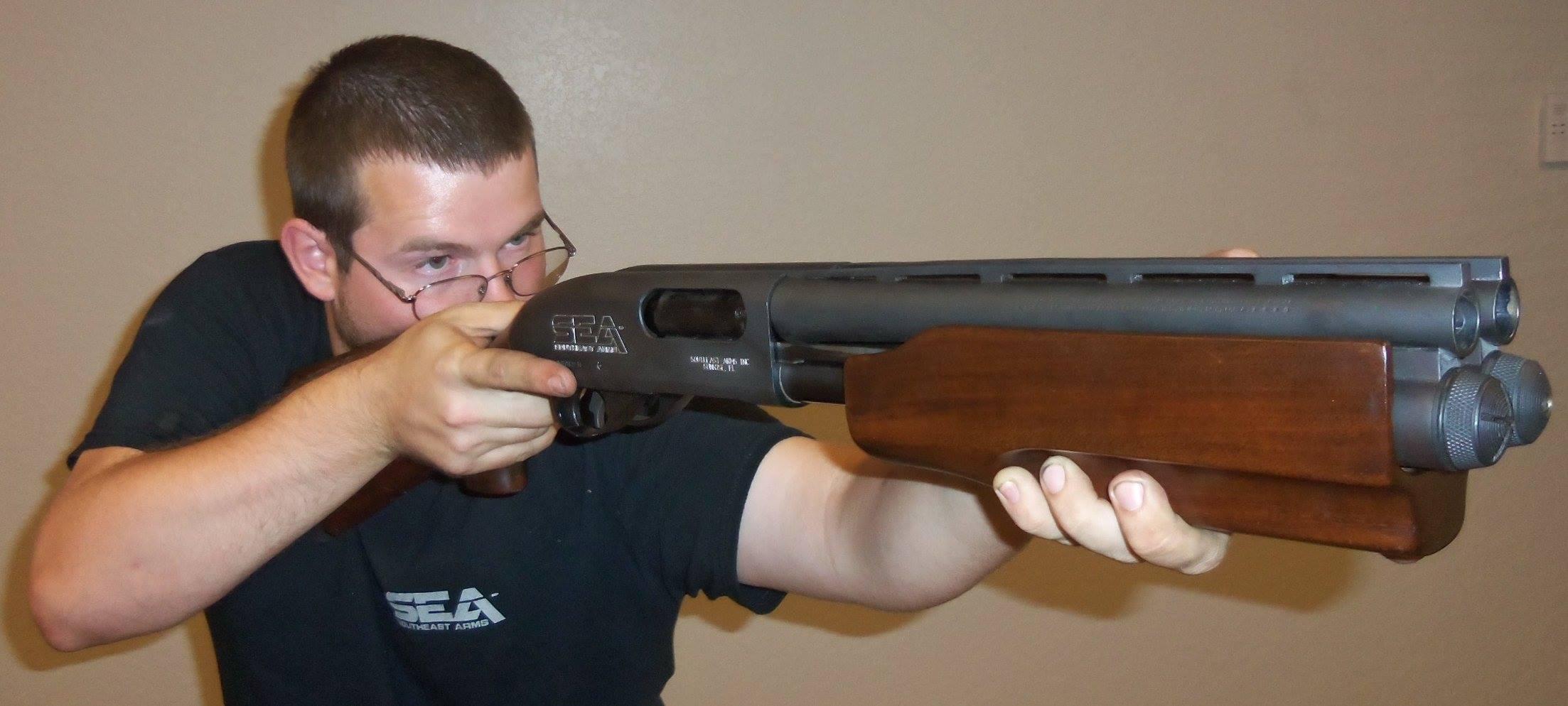 double pump shotgun front