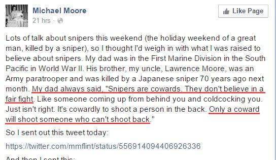 Michael Moore Sniper unfair
