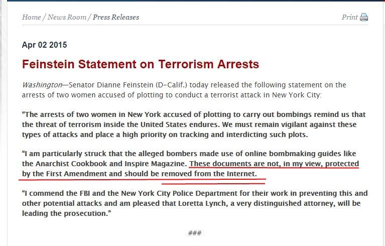 Feinstein Statement on Terrorism Arrests