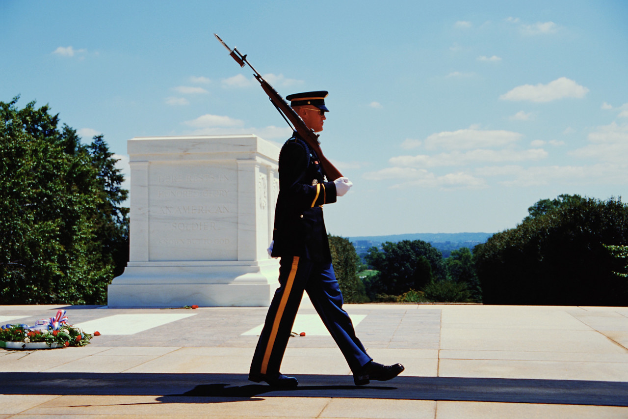 Soldier Guards the Tomb of the Unknowns in Arlington National Cemetery 1921 Arlington County, Virginia
