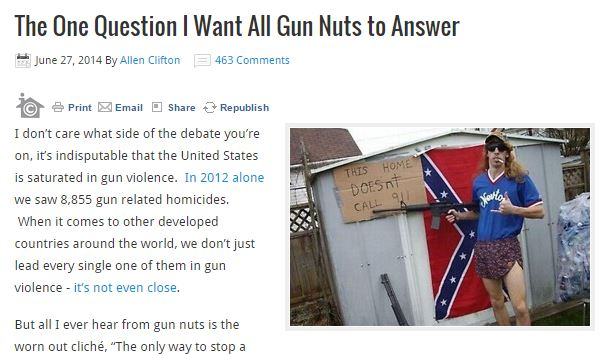 The One Question I Want All Gun Nuts to Answer