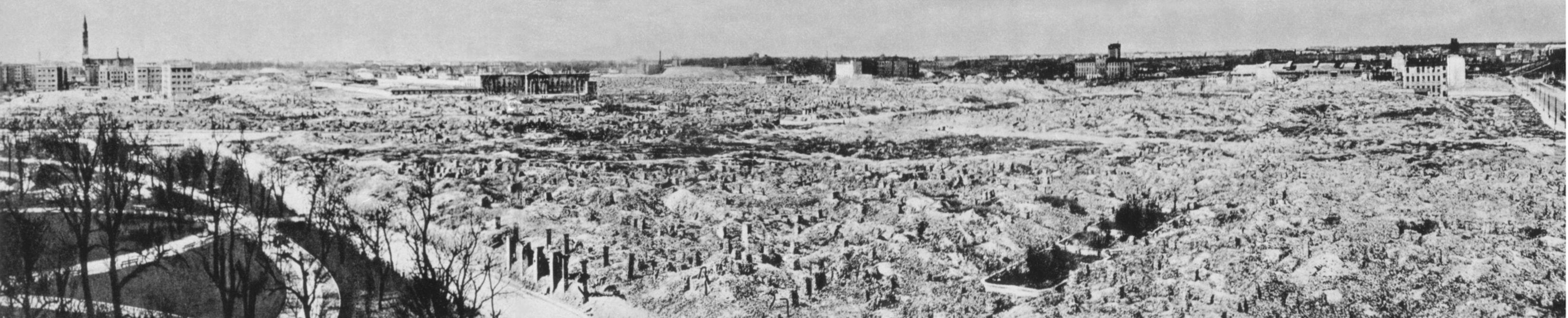 Ruins of Warsaw Ghetto, leveled by German forces, according to Adolf Hitler's order, after suppressing of the Warsaw Ghetto Uprising in 1943. North-west view, left - the Krasiński`s Garden and Swiętojerska street, photo taken in 1945