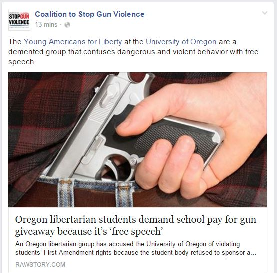 CSGV University of Oregon gun raffle