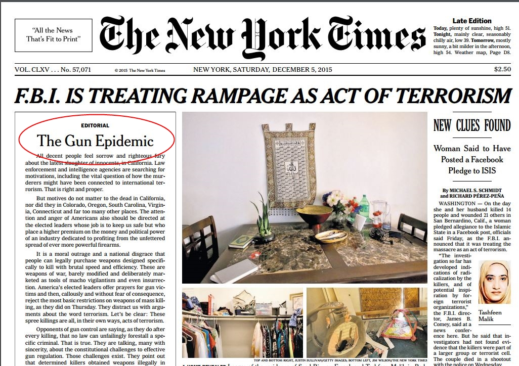 NYT Front Page Editorial gun epidemic