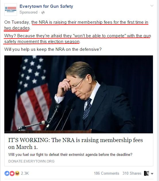 Everytown NRA membership fees