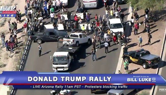 trump rally block