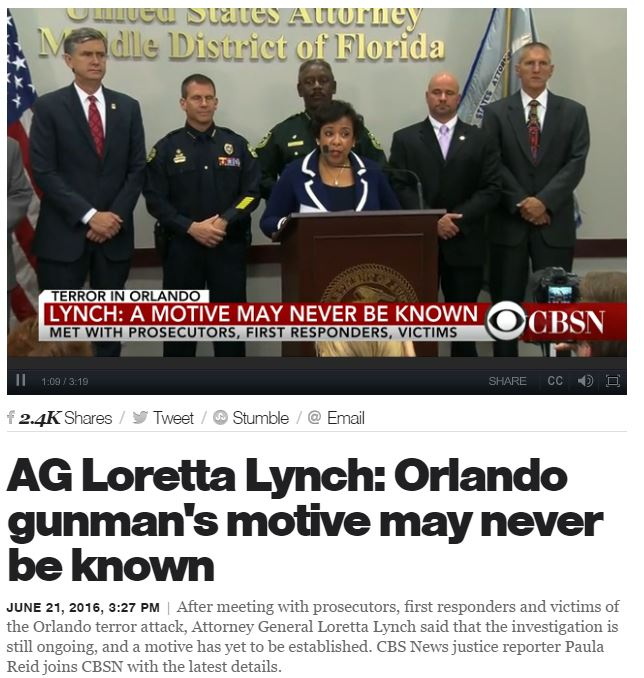 AG Loretta Lynch orlando shooter motive never known