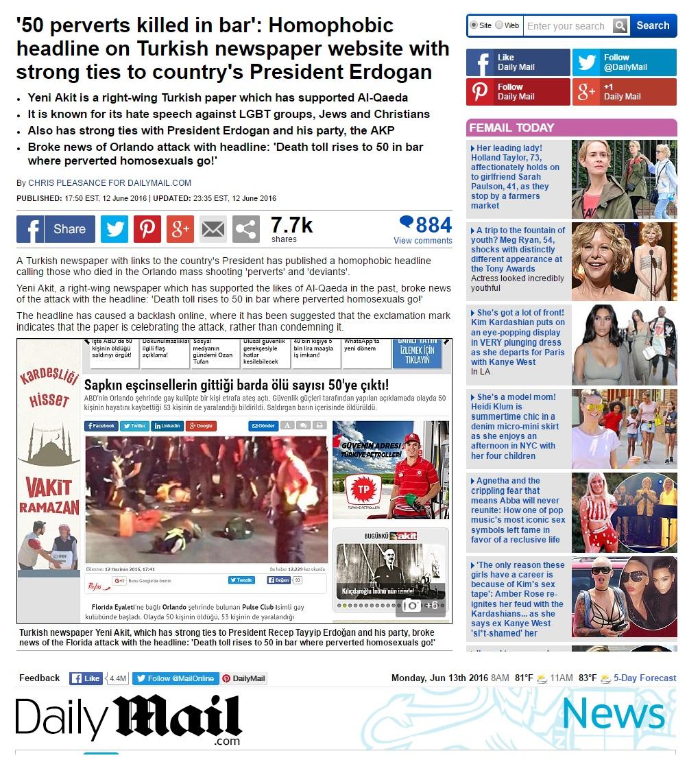 Daily Mail Turkish headline
