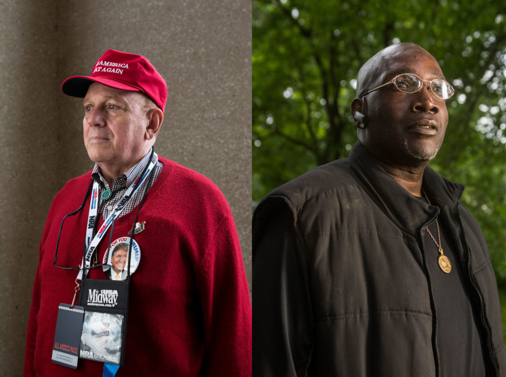 NRA life member, John Thayer of Winter Park, Florida, left, and Jaron Teague, great uncle of the late Antonio Tharpe, who was shot to death in 2008 just weeks before he was to leave for UK on an academic scholarship.  Witnesses told police it was over a game of dice.