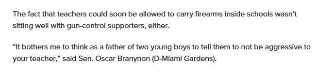 "The fact that teachers could soon be allowed to carry firearms inside schools wasn't sitting well with gun-control supporters, either. ""It bothers me to think as a father of two young boys to tell them to not be aggressive to your teacher,"" said Sen. Oscar Branynon (D-Miami Gardens)."